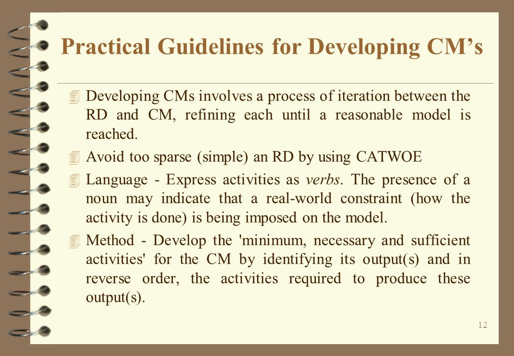 Practical Guidelines for Developing CM's