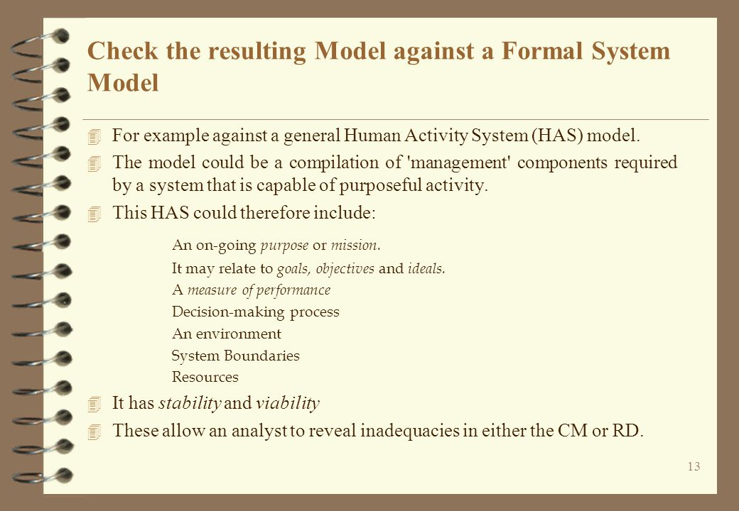 Check the resulting Model against a Formal System Model