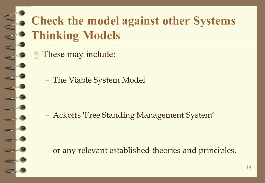 Check the model against other Systems Thinking Models