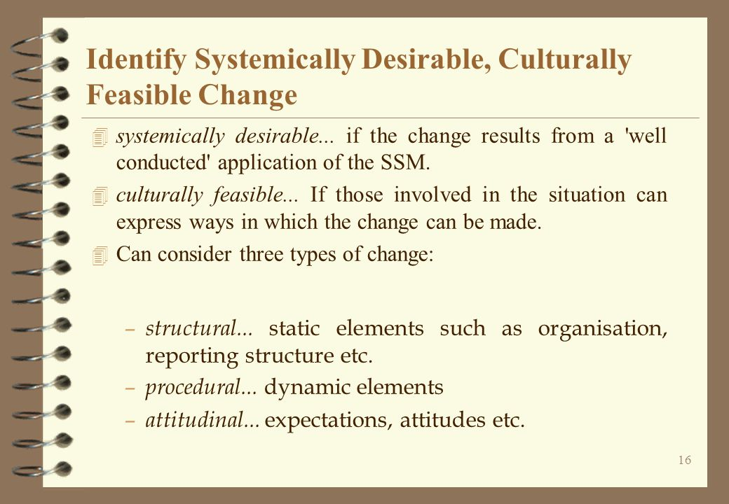 Identify Systemically Desirable, Culturally Feasible Change