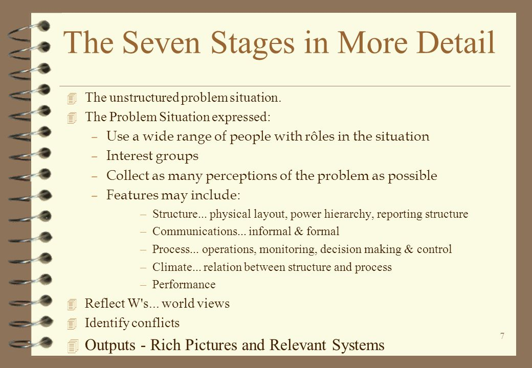 The Seven Stages in More Detail