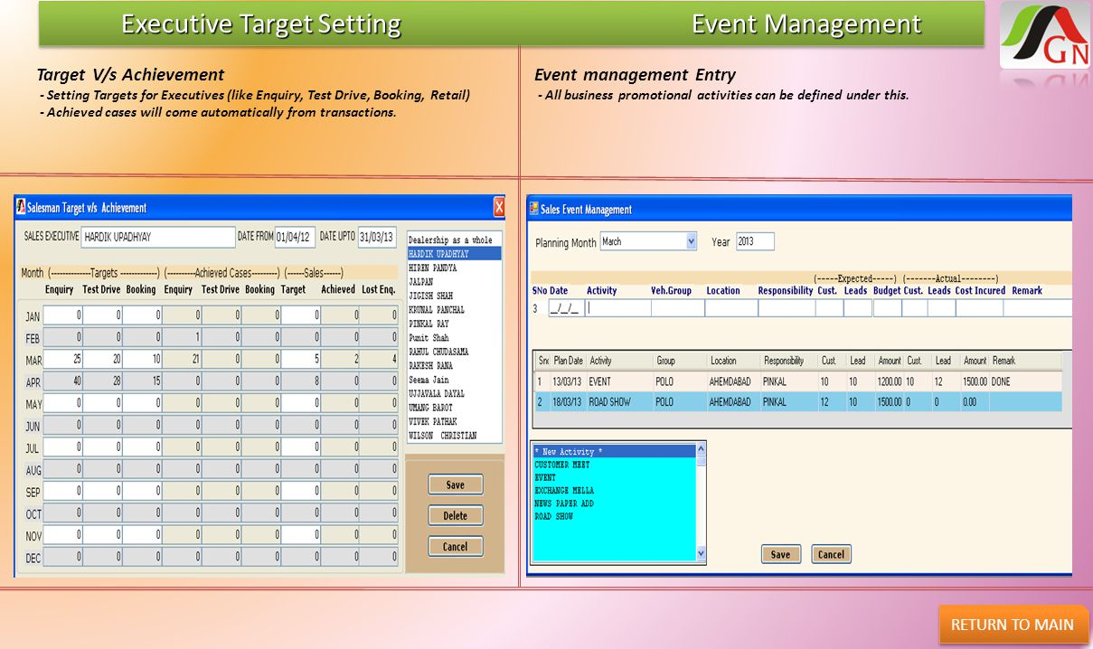 Executive Target Setting Event Management