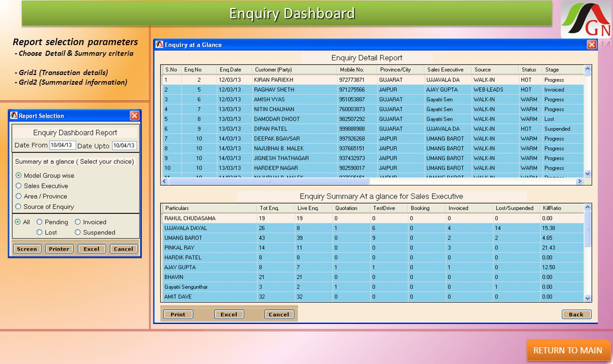 Enquiry Dashboard Report selection parameters RETURN TO MAIN