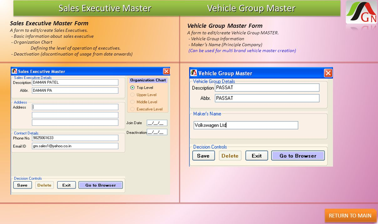 Sales Executive Master Vehicle Group Master