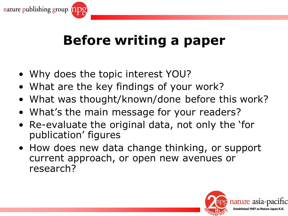 Writing A Paper For Publication In A Journal