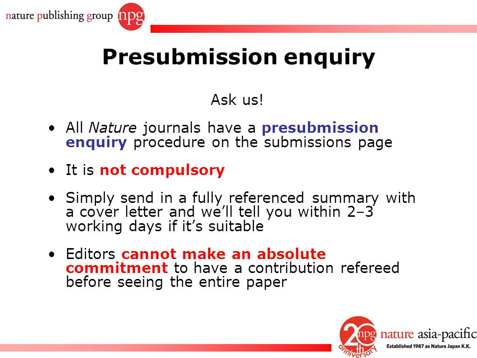 Presubmission enquiry