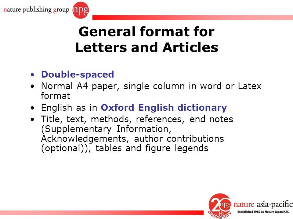 General format for Letters and Articles