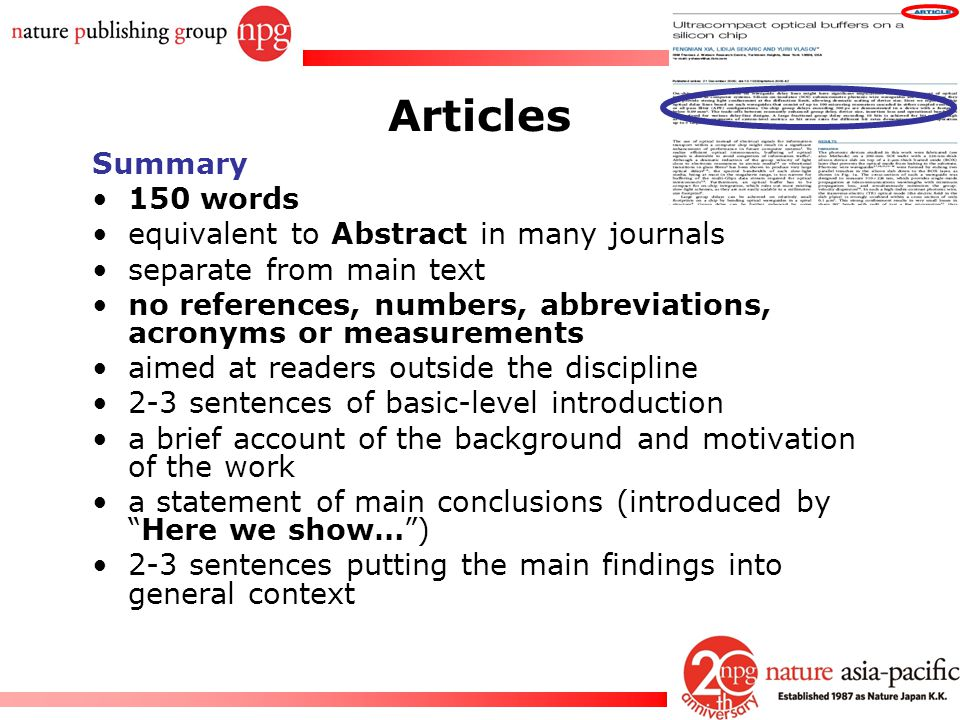 Articles Summary 150 words equivalent to Abstract in many journals