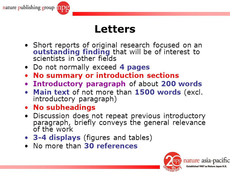 Letters Short reports of original research focused on an outstanding finding that will be of interest to scientists in other fields.