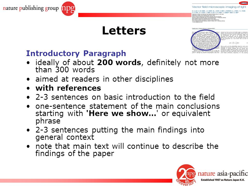 Letters Introductory Paragraph
