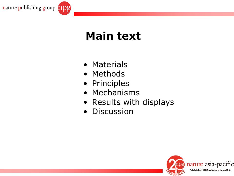 Main text Materials Methods Principles Mechanisms