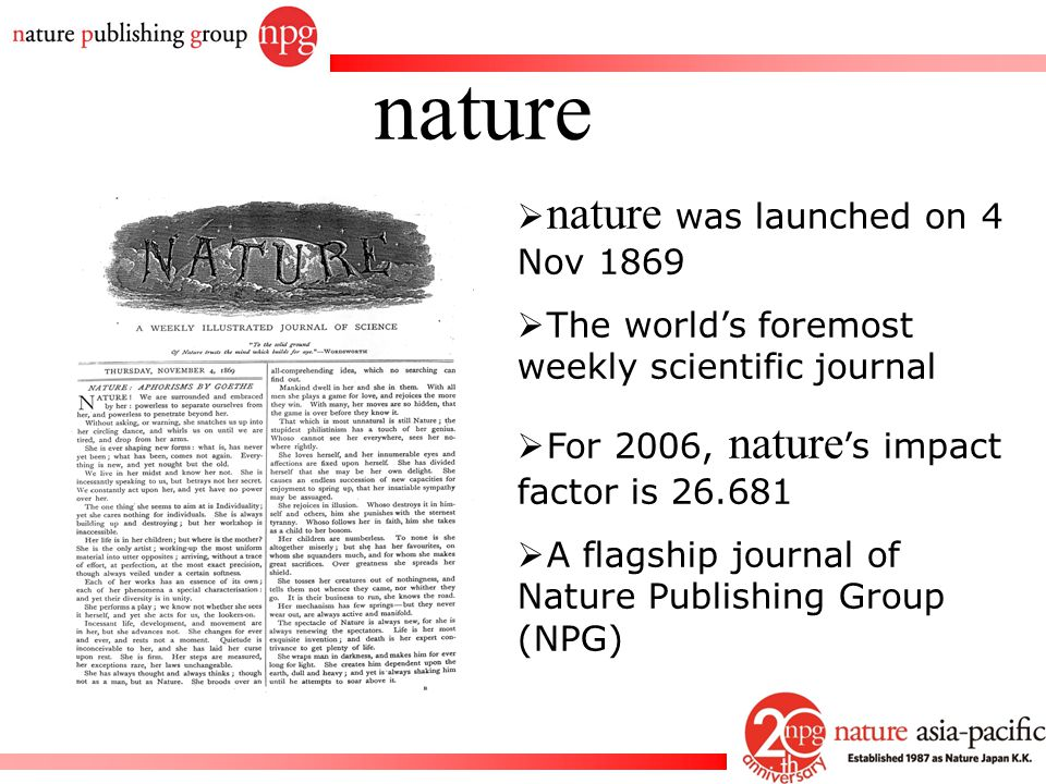 nature nature was launched on 4 Nov 1869