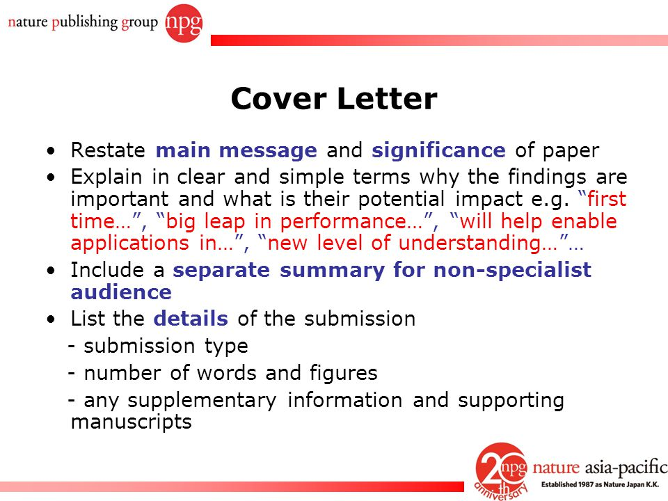 Cover Letter Restate main message and significance of paper