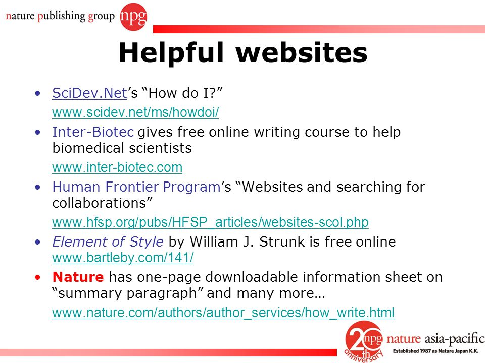 Helpful websites SciDev.Net's How do I www.scidev.net/ms/howdoi/