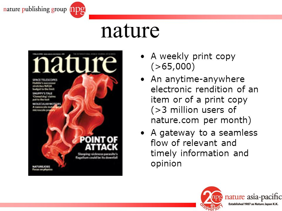 nature A weekly print copy (>65,000)