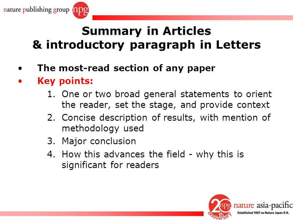 Summary in Articles & introductory paragraph in Letters