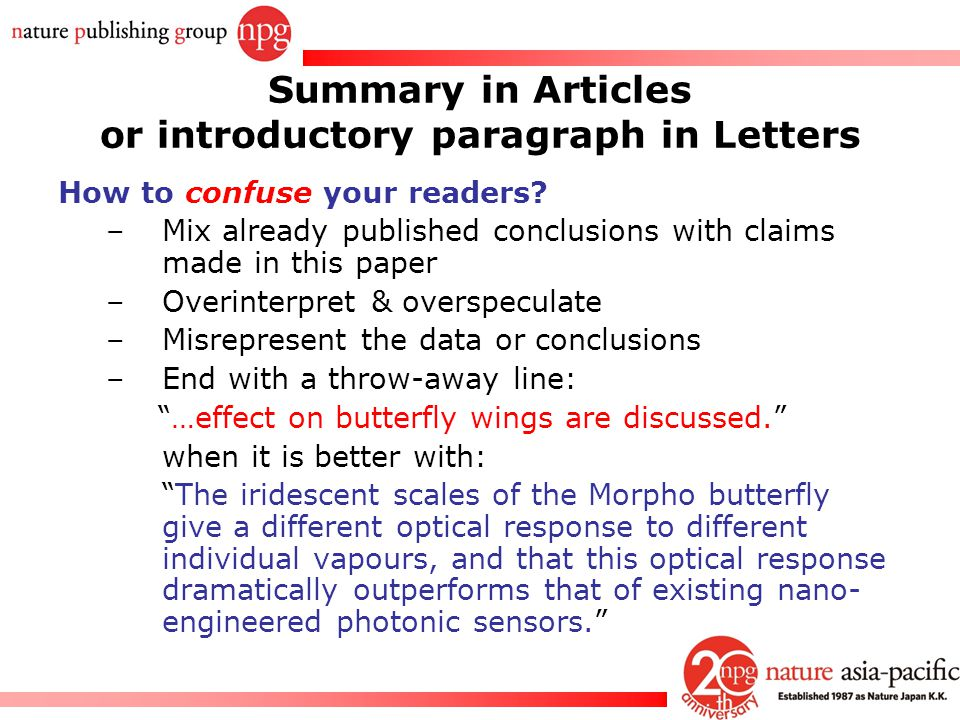 Summary in Articles or introductory paragraph in Letters