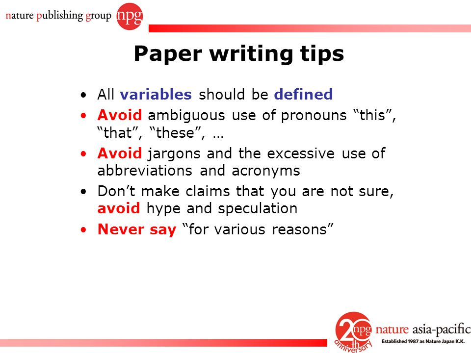 Paper writing tips All variables should be defined