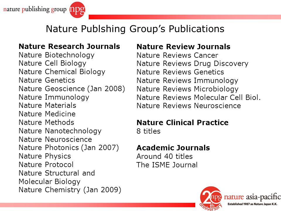 Nature Publshing Group's Publications