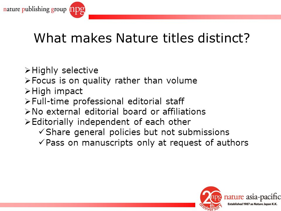 What makes Nature titles distinct