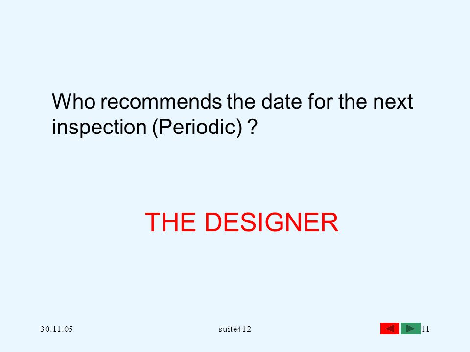 THE DESIGNER Who recommends the date for the next