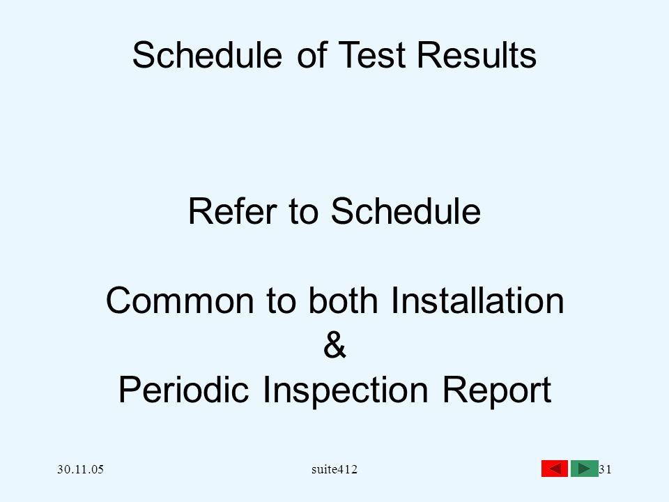 Schedule of Test Results
