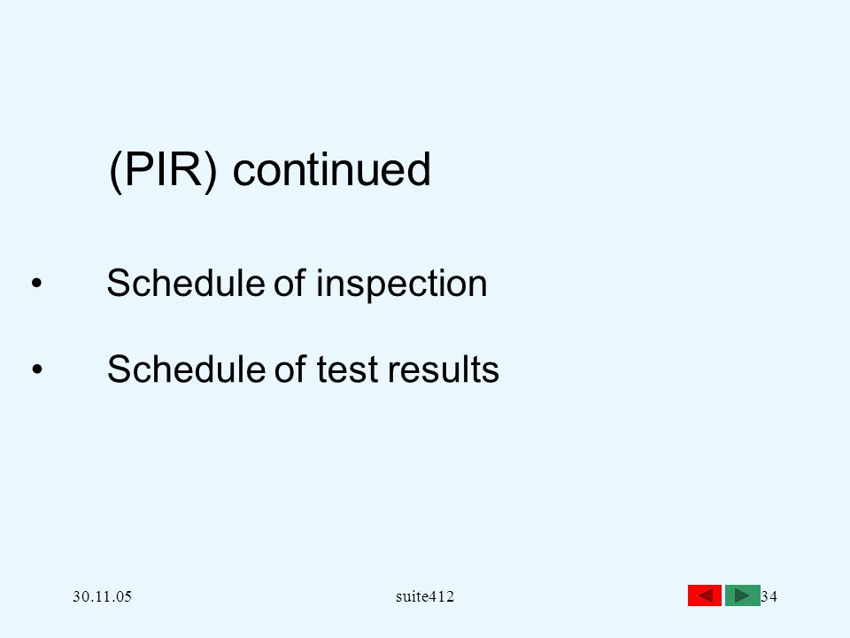 Schedule of inspection