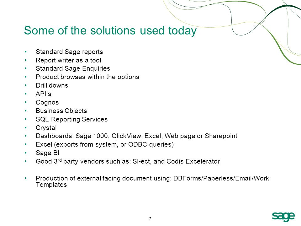 Some of the solutions used today