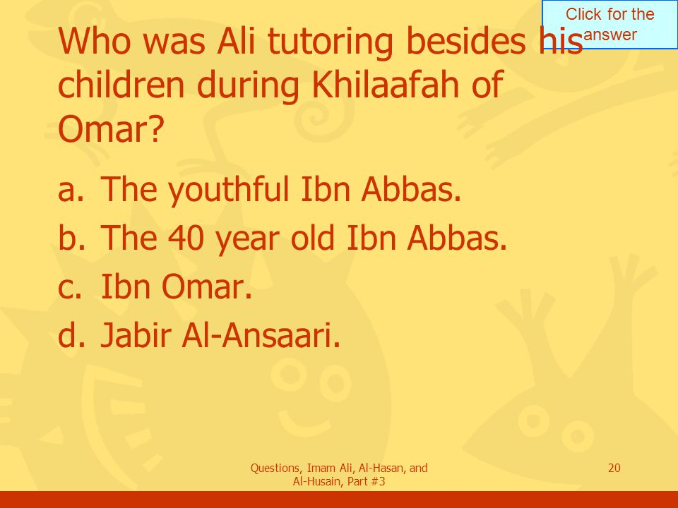 Who was Ali tutoring besides his children during Khilaafah of Omar