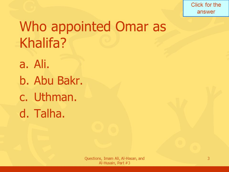 Who appointed Omar as Khalifa