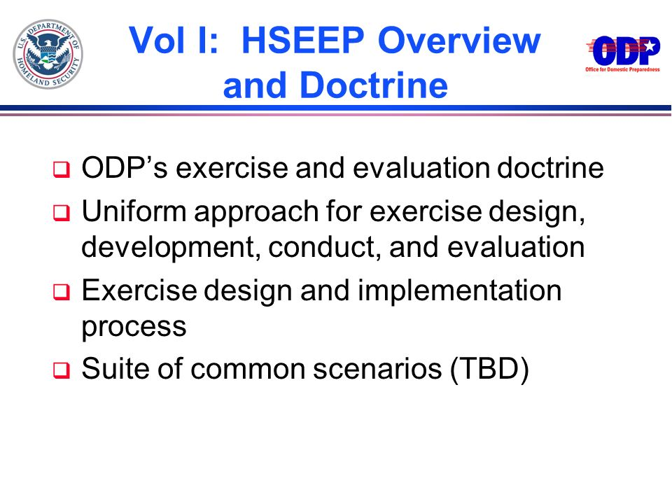 Vol I: HSEEP Overview and Doctrine