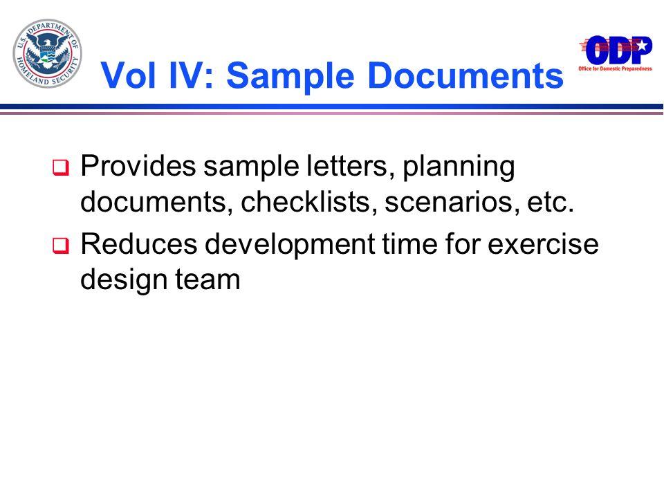 Vol IV: Sample Documents