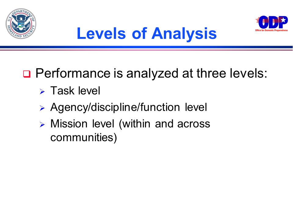 Levels of Analysis Performance is analyzed at three levels: Task level