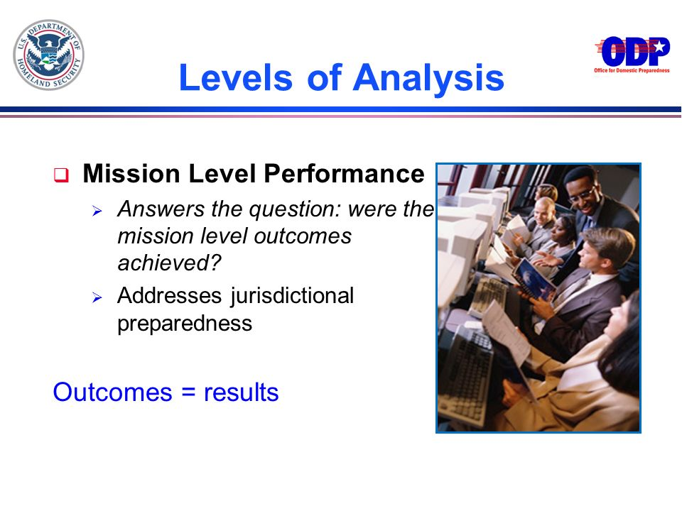 Levels of Analysis Mission Level Performance Outcomes = results