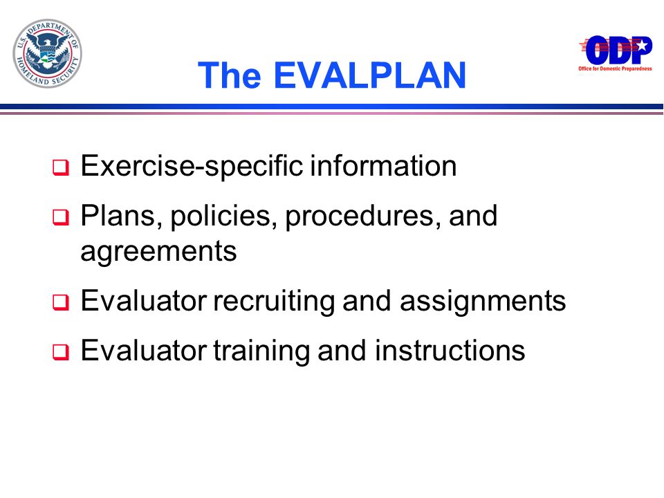The EVALPLAN Exercise-specific information
