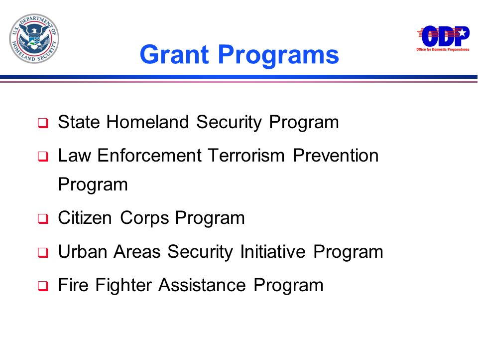 Grant Programs State Homeland Security Program