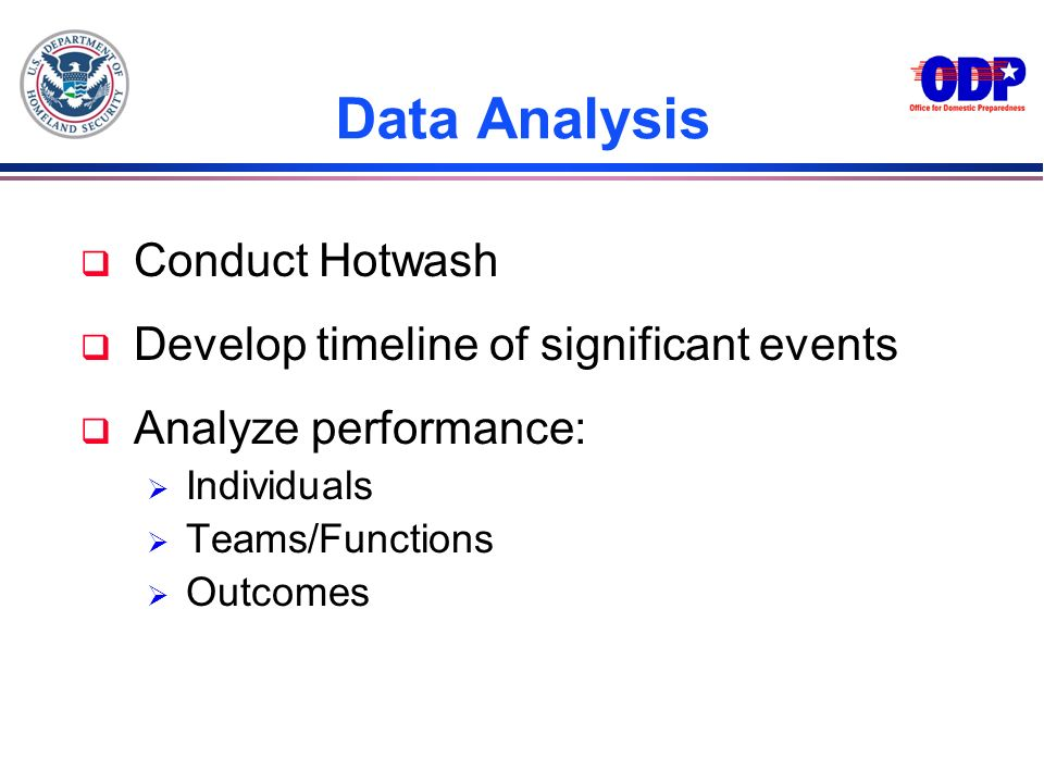 Data Analysis Conduct Hotwash Develop timeline of significant events