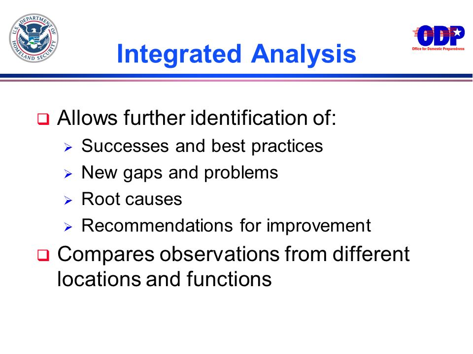 Integrated Analysis Allows further identification of: