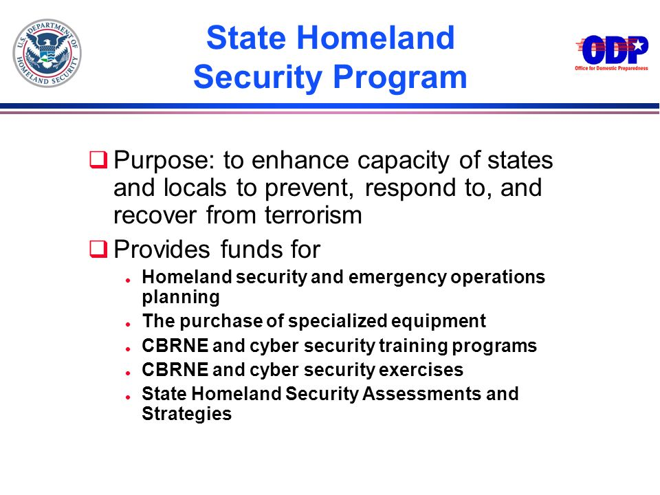 State Homeland Security Program