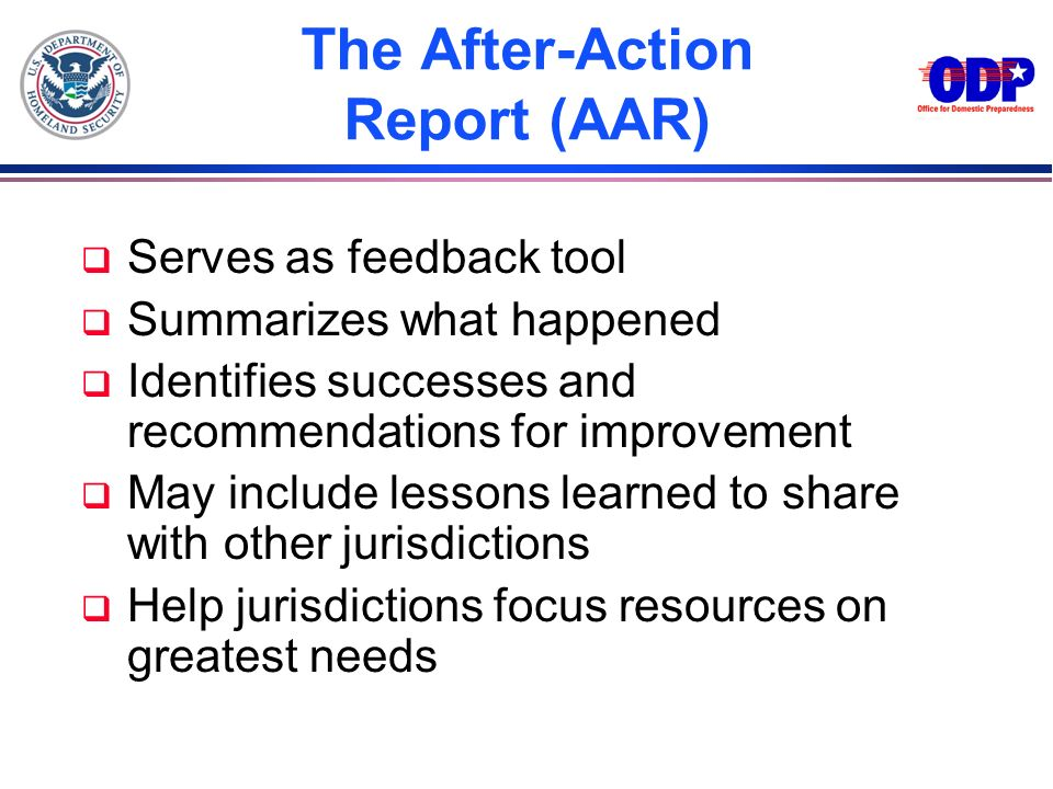 The After-Action Report (AAR)