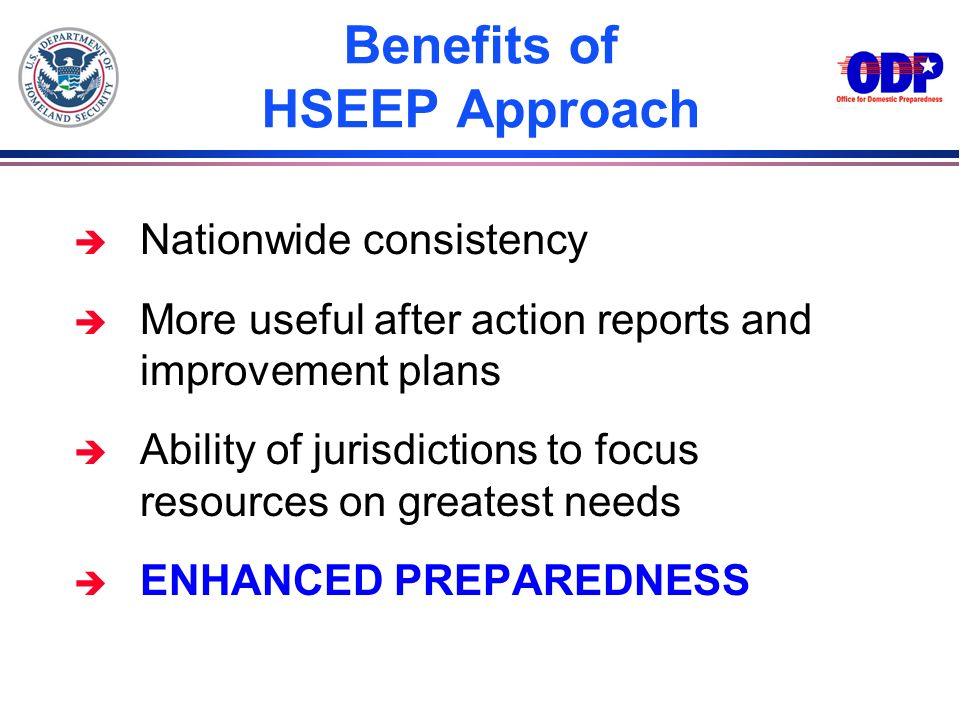 Benefits of HSEEP Approach