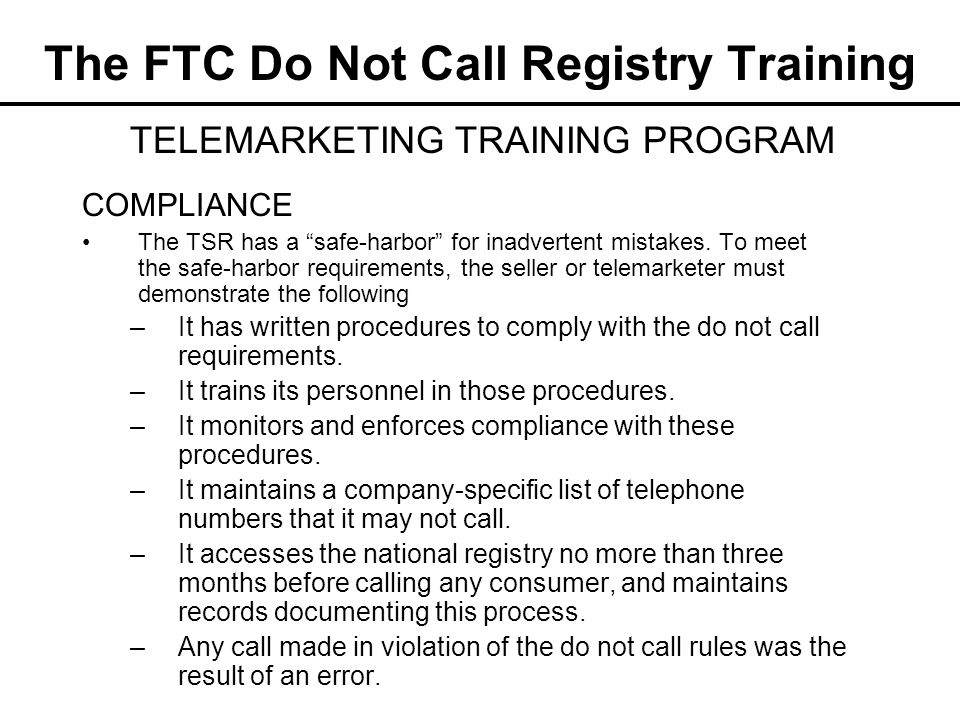 The FTC Do Not Call Registry Training