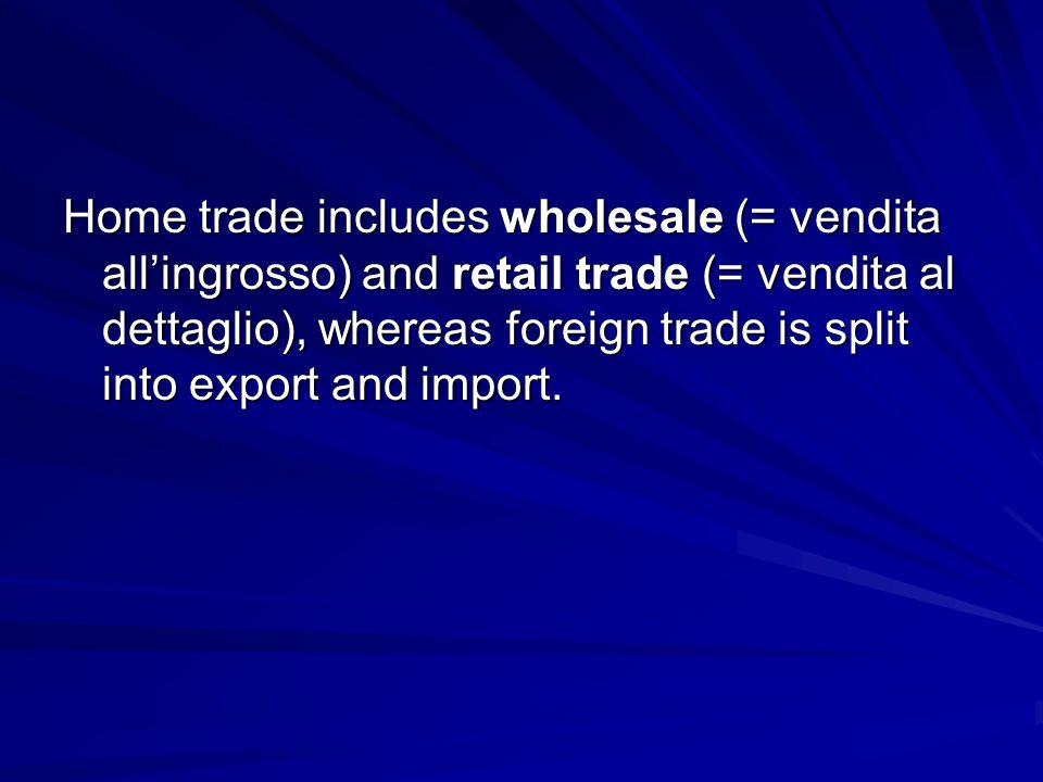 Home trade includes wholesale (= vendita all'ingrosso) and retail trade (= vendita al dettaglio), whereas foreign trade is split into export and import.
