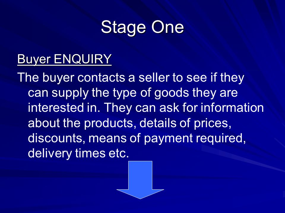 Stage One Buyer ENQUIRY