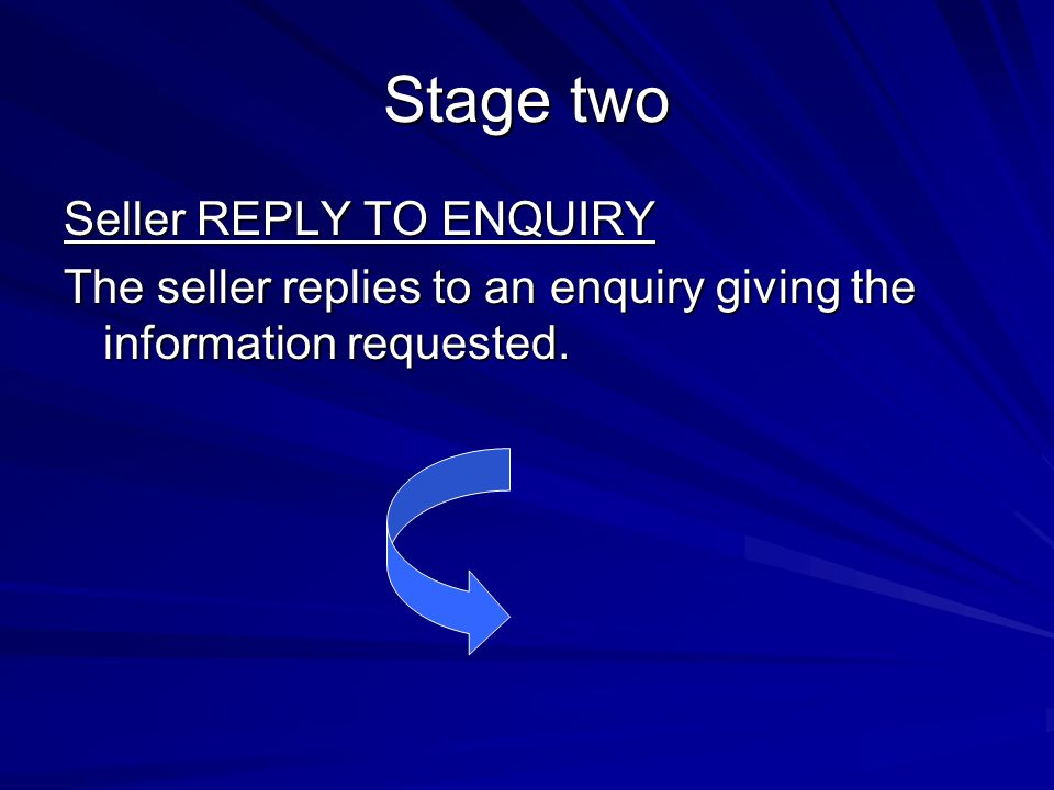 Stage two Seller REPLY TO ENQUIRY