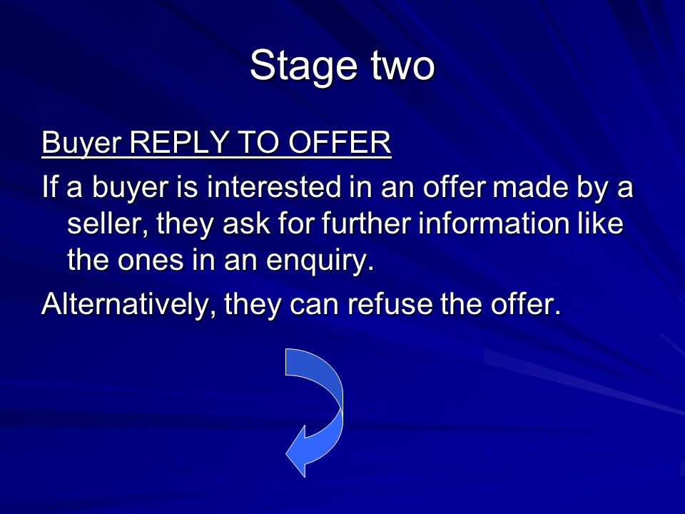 Stage two Buyer REPLY TO OFFER