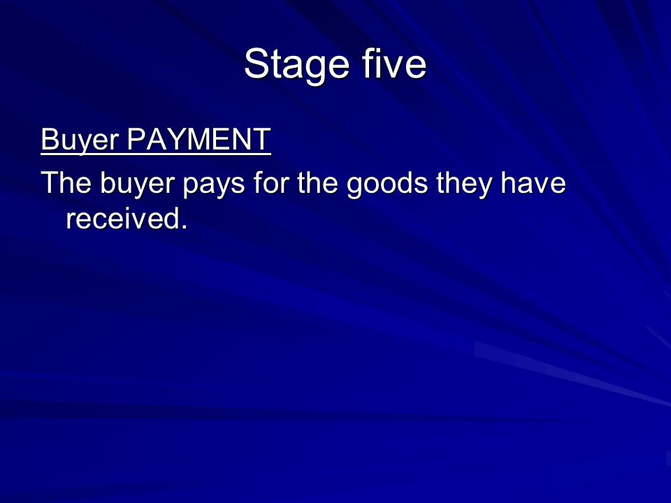 Stage five Buyer PAYMENT