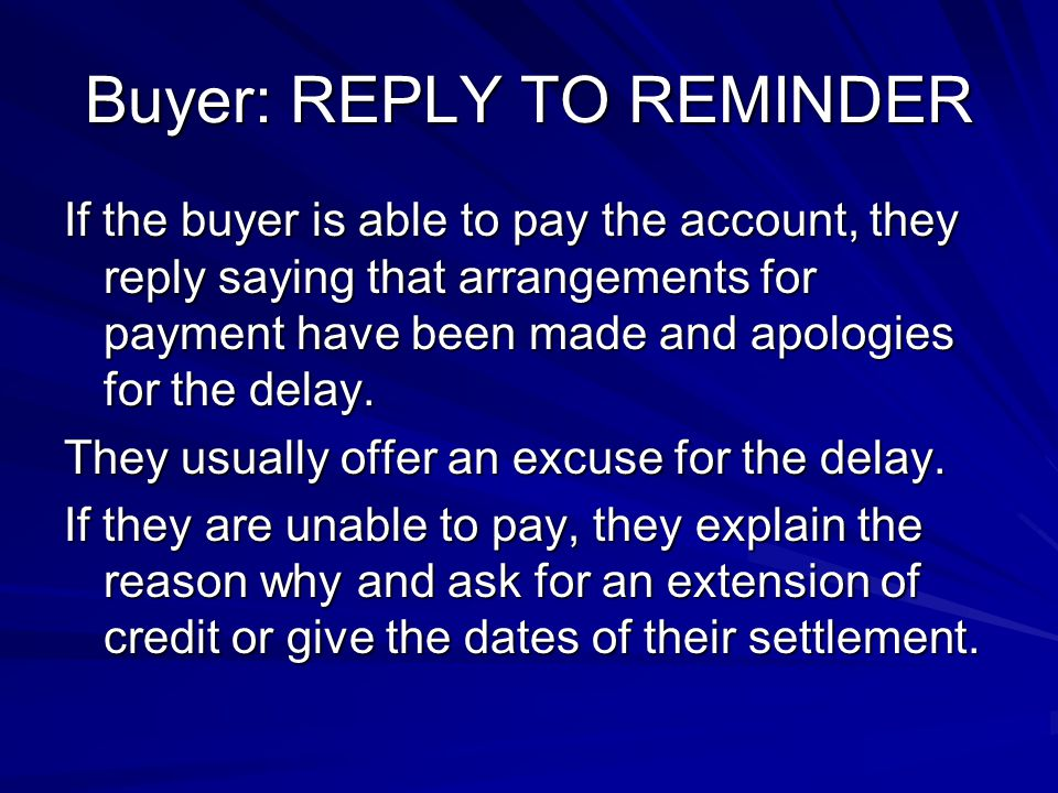 Buyer: REPLY TO REMINDER