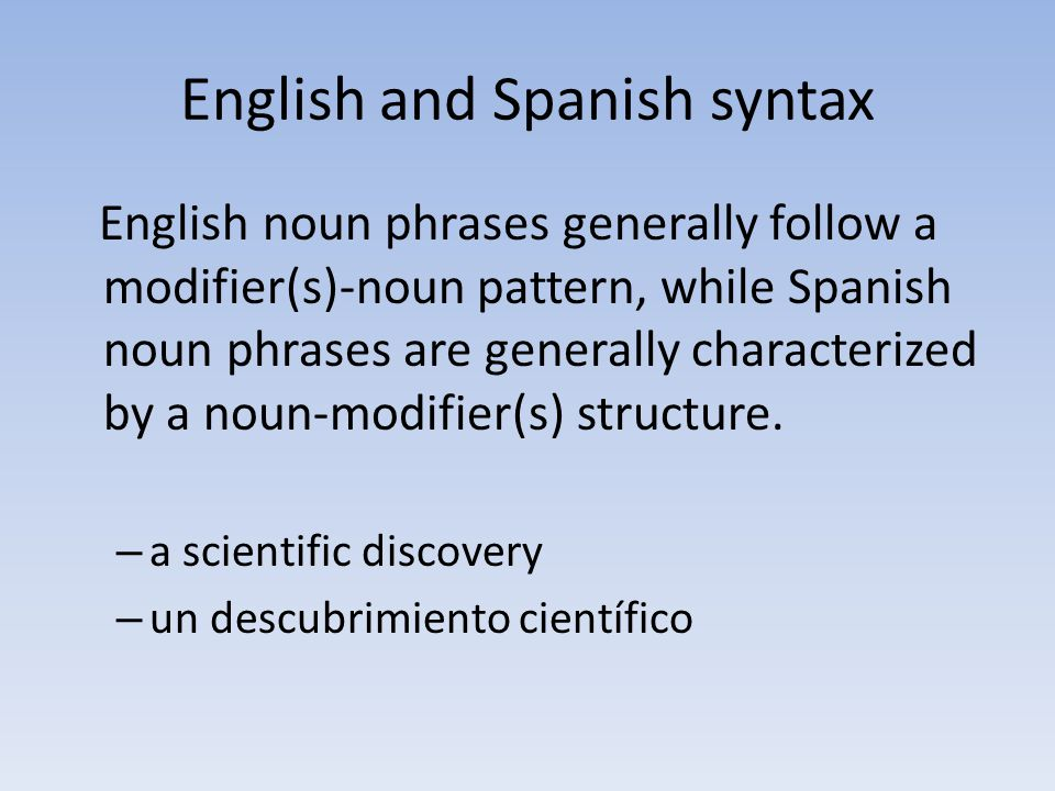 English and Spanish syntax