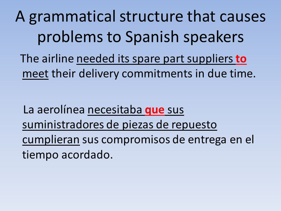A grammatical structure that causes problems to Spanish speakers